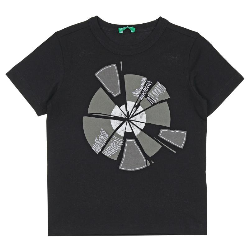 Памучна тениска с графичен принт за бебе, черна  268265