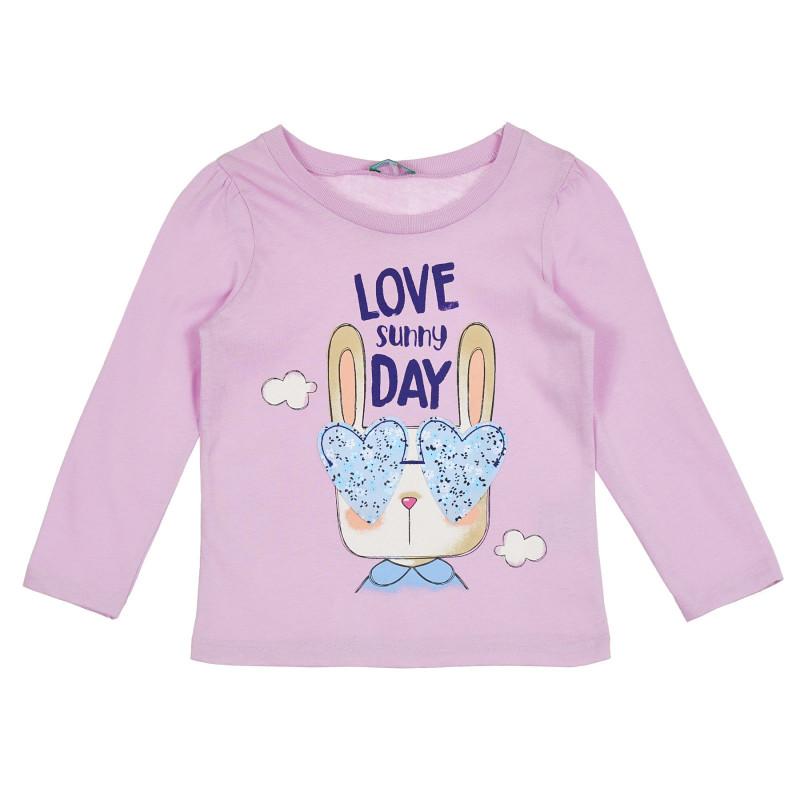 Памучна блуза с дълъг ръкав, светлолилава  268269
