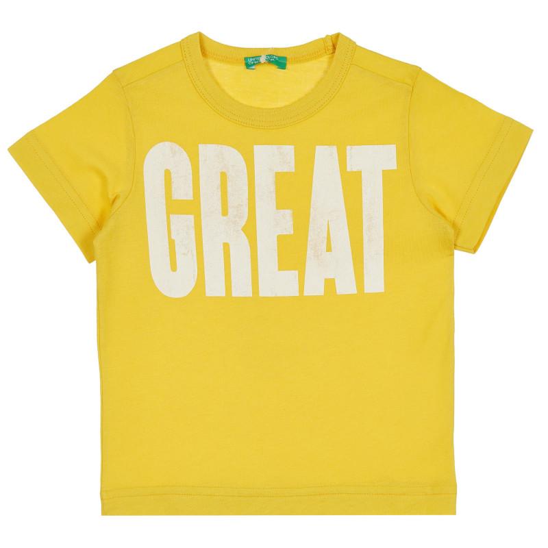 Памучна тениска с надпис Great за бебе, жълта  268272