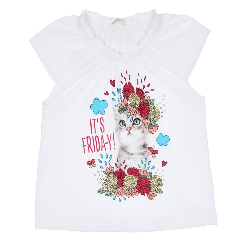 Памучна блуза с къс ръкав и с щампа коте, бяла  268292