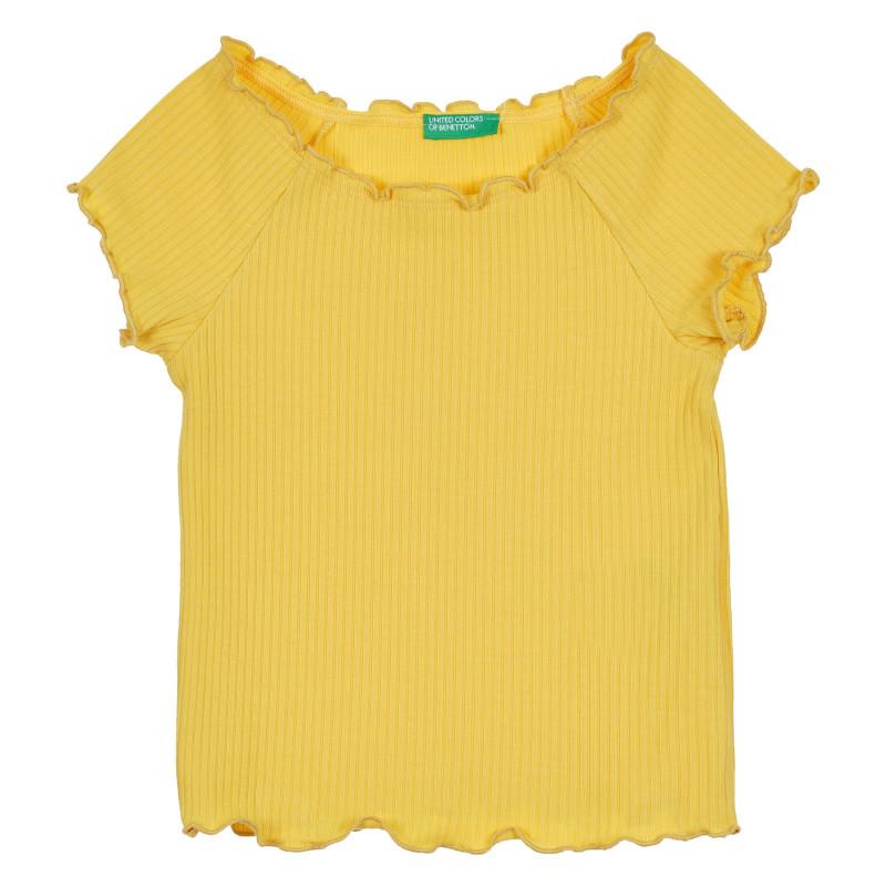 Блуза с къс ръкав и къдрички, жълта  268296