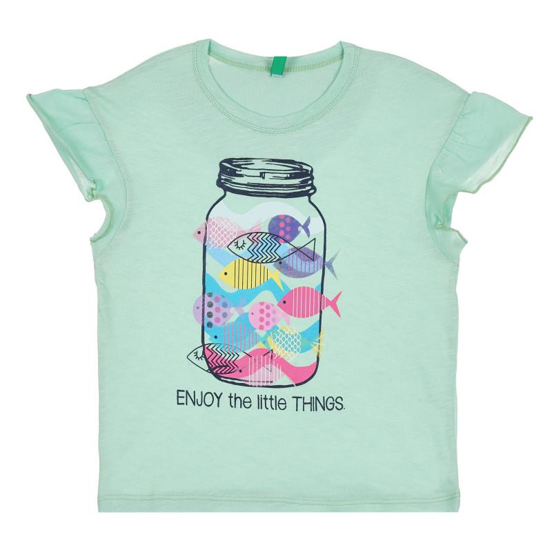 Памучна тениска с щампа и розови акценти, зелена  268306