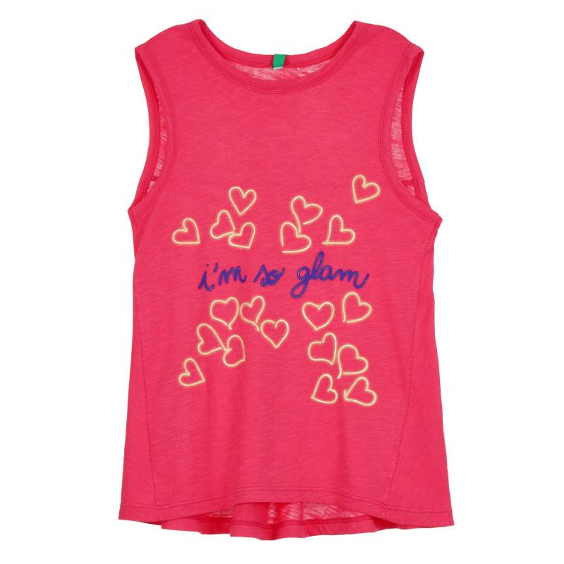 Разкроен памучен потник с щампа на сърца и надпис, розов  268318