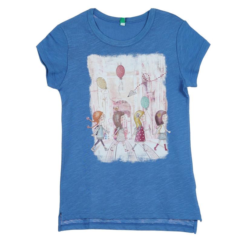 Памучна тениска с щампа и брокатени акценти за бебе, синя  268322