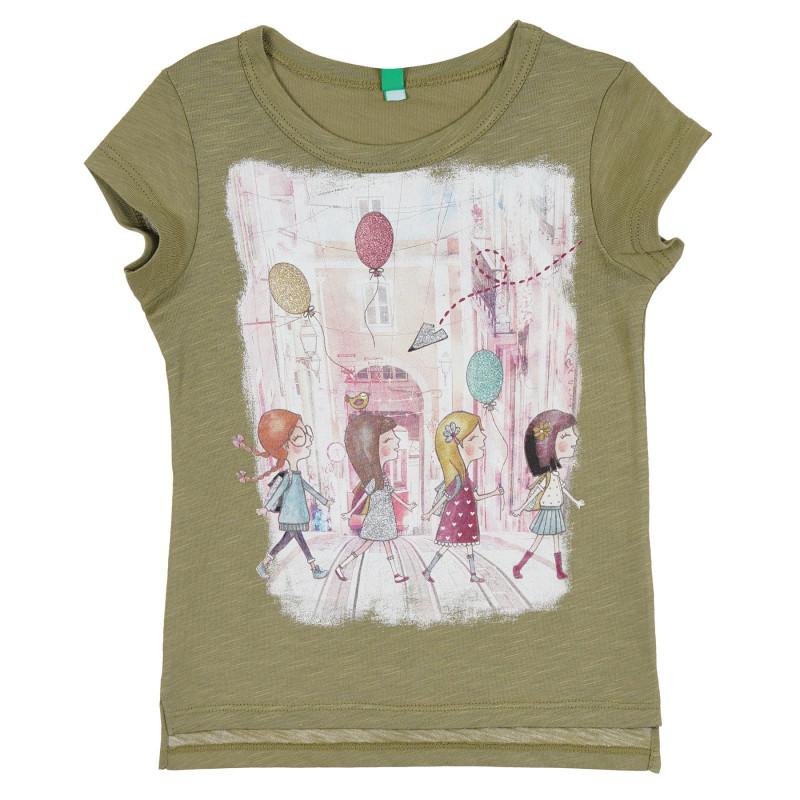 Памучна тениска с щампа и брокатени акценти за бебе, зелена  268326
