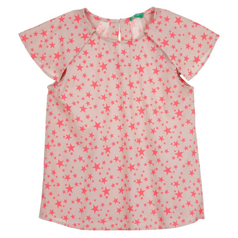 Блуза тип потник с фигурален принт, розов  268346