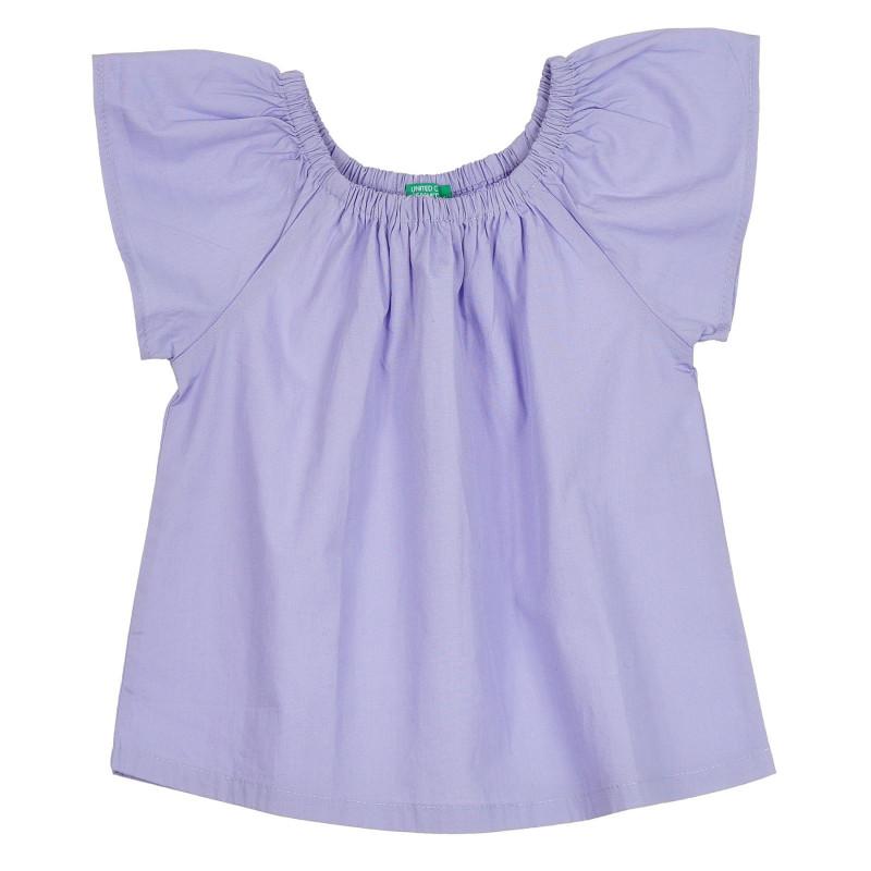 Памучна блуза с къс ръкав, лилава  268350