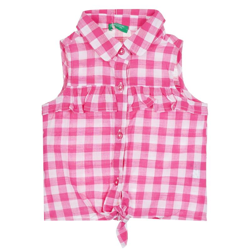 Памучна риза без ръкави в розово и бяло каре  268361