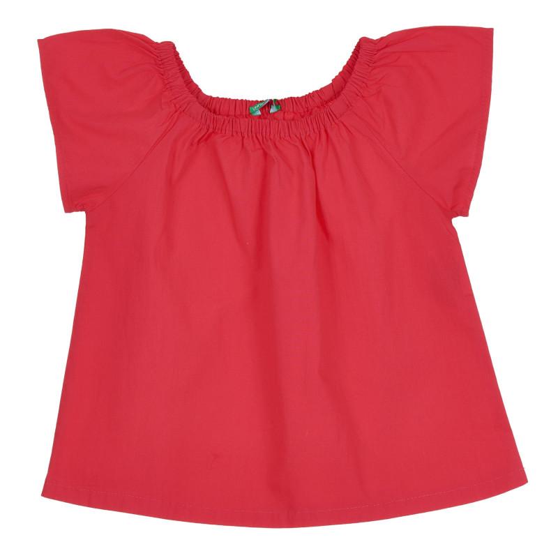 Памучна блуза с къс ръкав, червена  268365