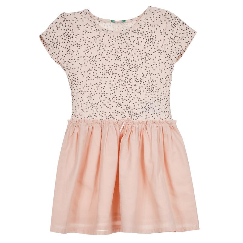 Памучна рокля с фигурален принт за бебе, светлорозова  268368