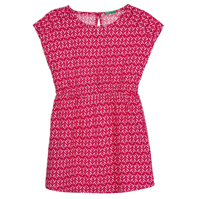 Памучна рокля с фигурален принт, червена  268376