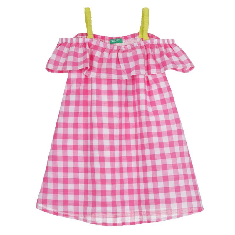 Памучна рокля с цветни презрамки, многоцветна  268380