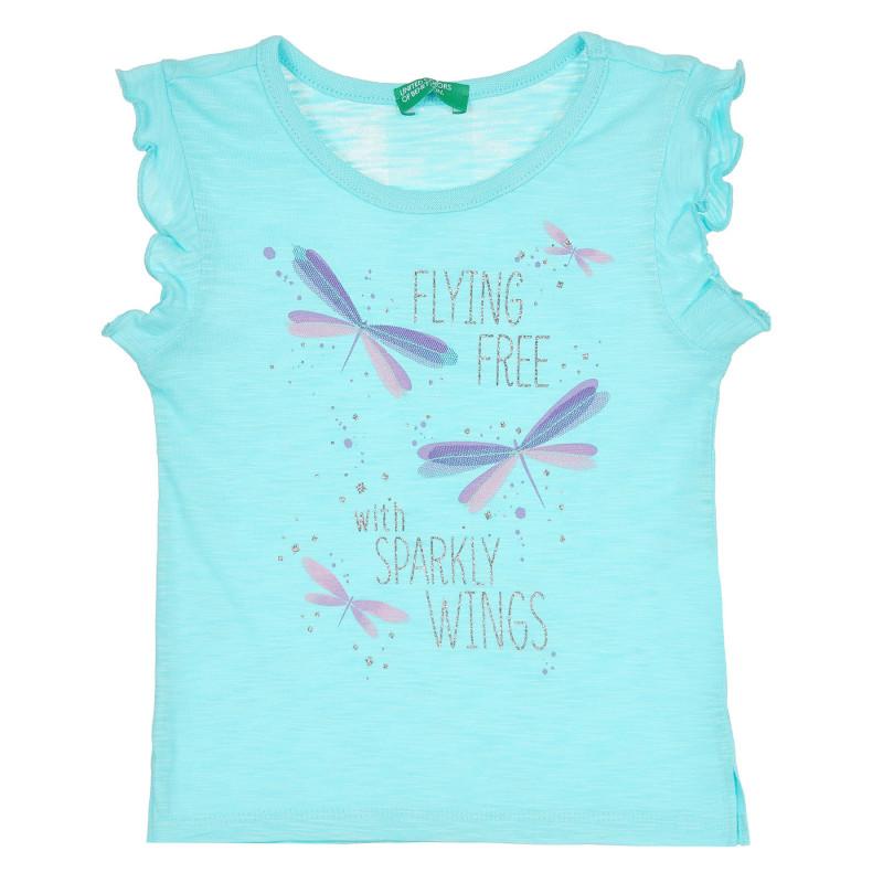 Памучна тениска с щампа и надпис, светлосиня  268391