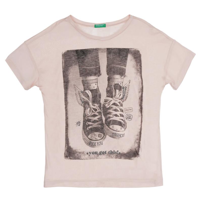 Тениска с щампа- Rock you, светлорозова  268403