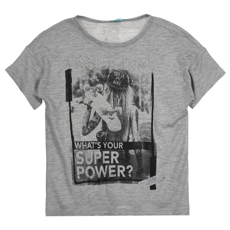 Тениска с щампа и брокатени акценти, сива  268411