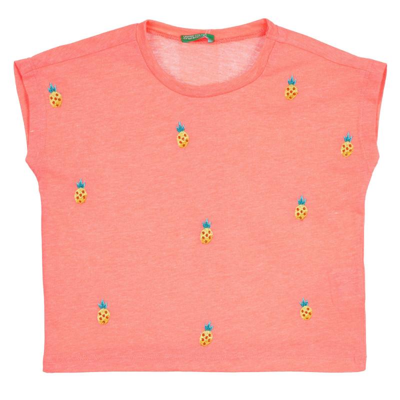 Тениска с къс ръкав и апликация на ананаси, оранжева  268415