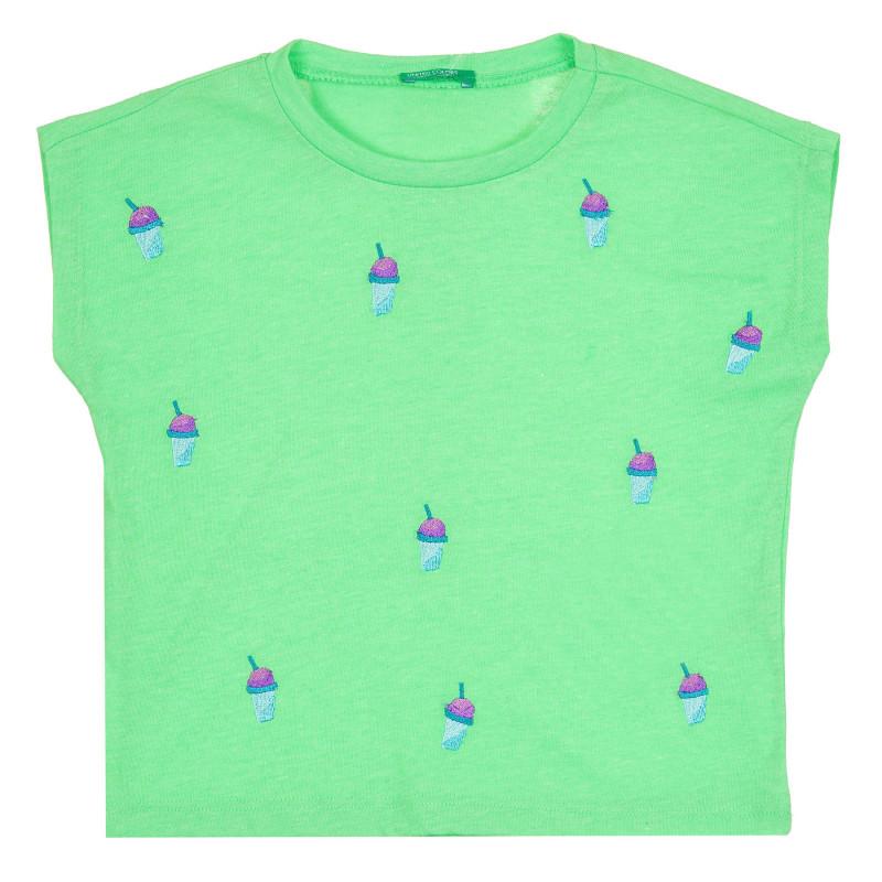 Тениска с къс ръкав и апликация, зелена  268423