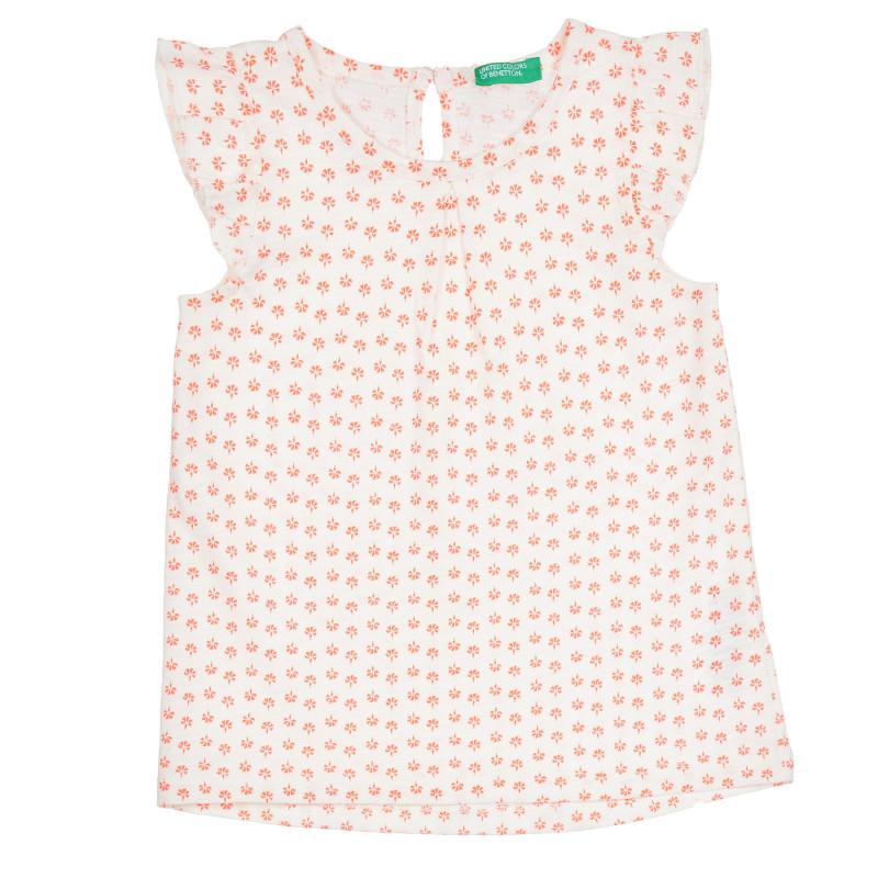 Памучна блуза с къдрички и оранжеви акценти за бебе, бяла  268431