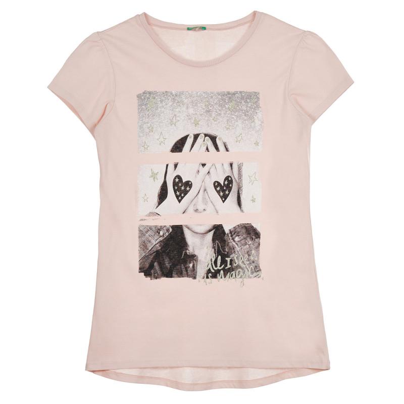 Памучна тениска с щампа, розова  268447