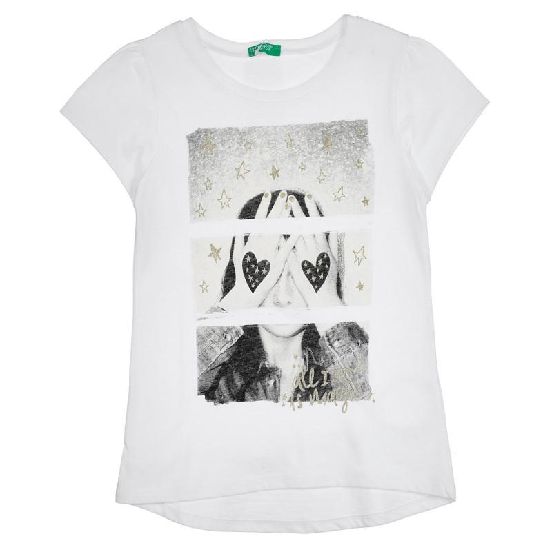 Памучна тениска с щампа, бяла  268451