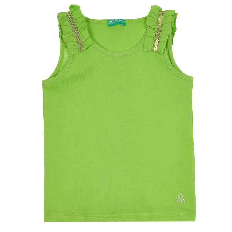 Памучен потник с къдрички за бебе, зелен  268455