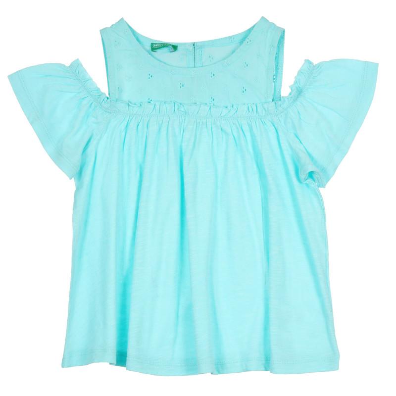 Памучна блуза с паднали ръкави, светлосиня  268459