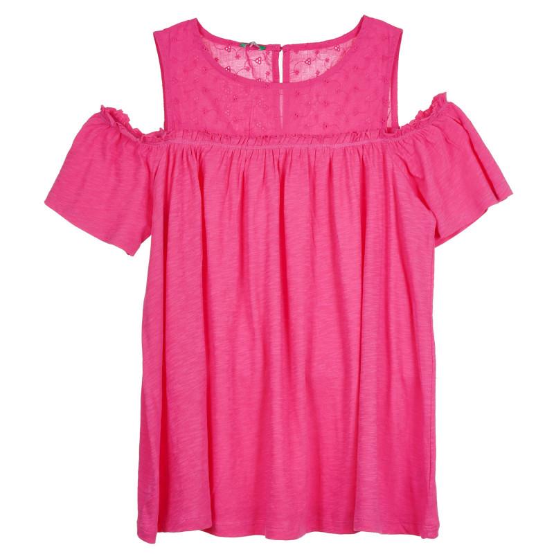 Памучна блуза с паднали ръкави, розова  268475
