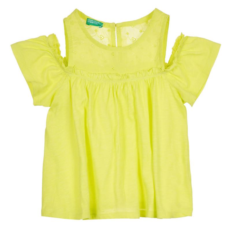 Памучна блуза с паднали ръкави, светлозелена  268479