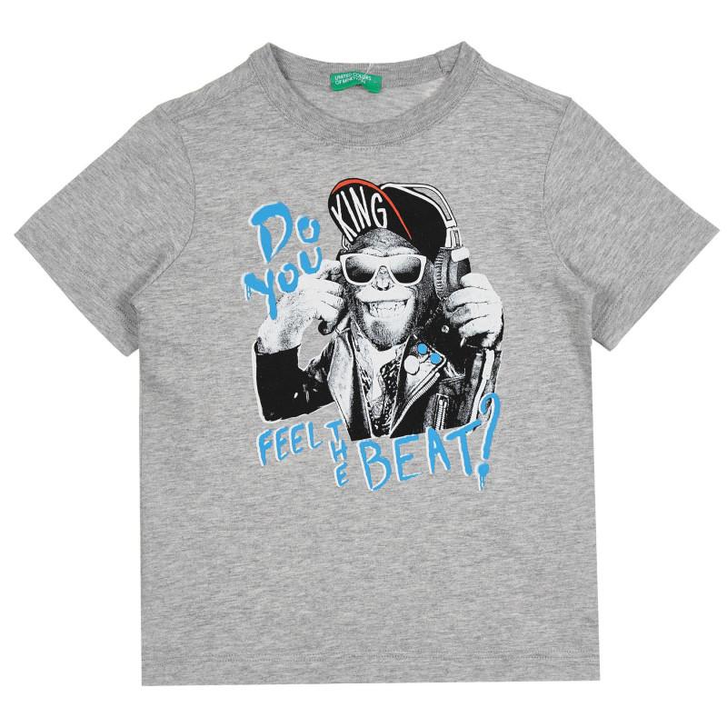 Памучна тениска с щампа на музикална маймуна, сива  268487