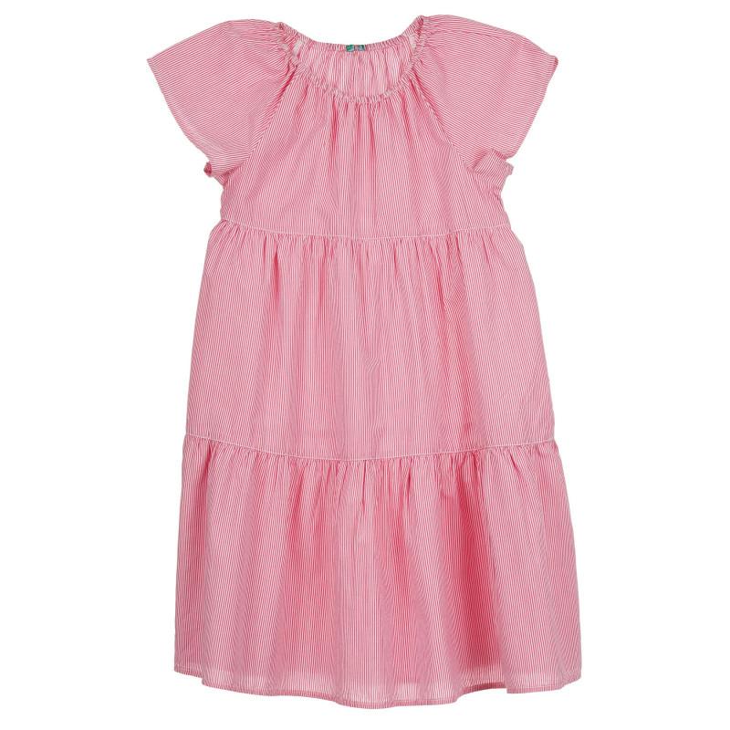 Памучна рокля с къс ръкав, в бяло и розово райе  268499
