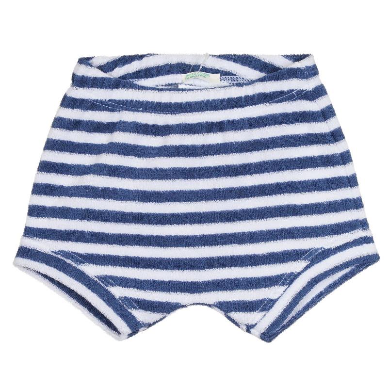 Хавлиени къси панталони в бяло и синьо райе за бебе  268502