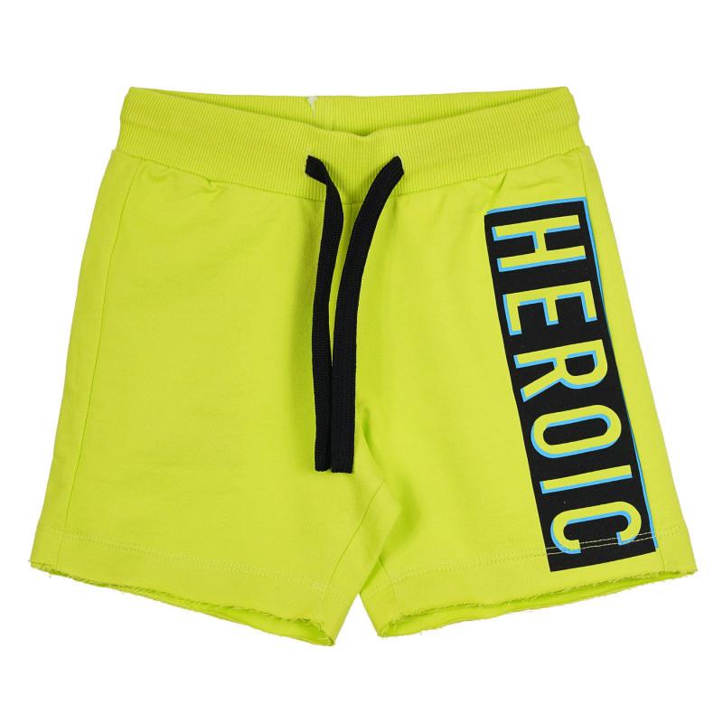 Памучен къс панталон с надпис, зелен  268524