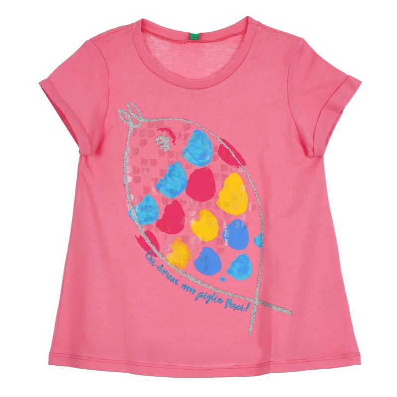 Памучна тениска с щампа на риба за бебе, розова  268542
