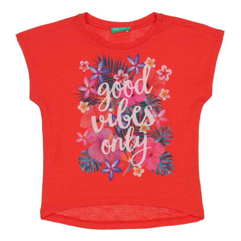 Памучна тениска с флорална щампа за бебе, червена  268554