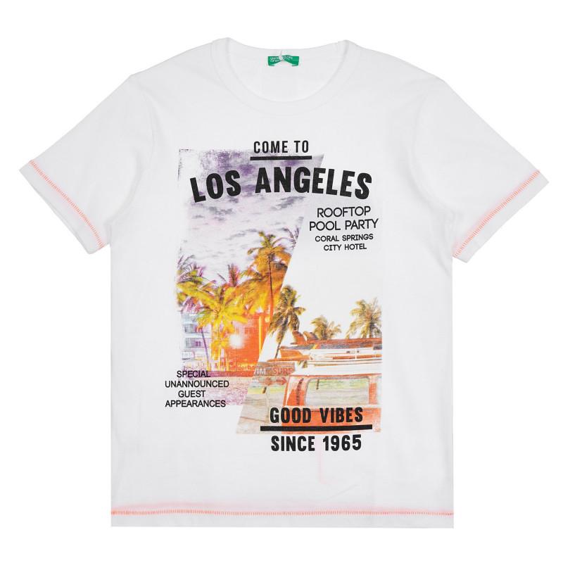 Памучна тениска с графичен принт Los Angeles, бяла  268558