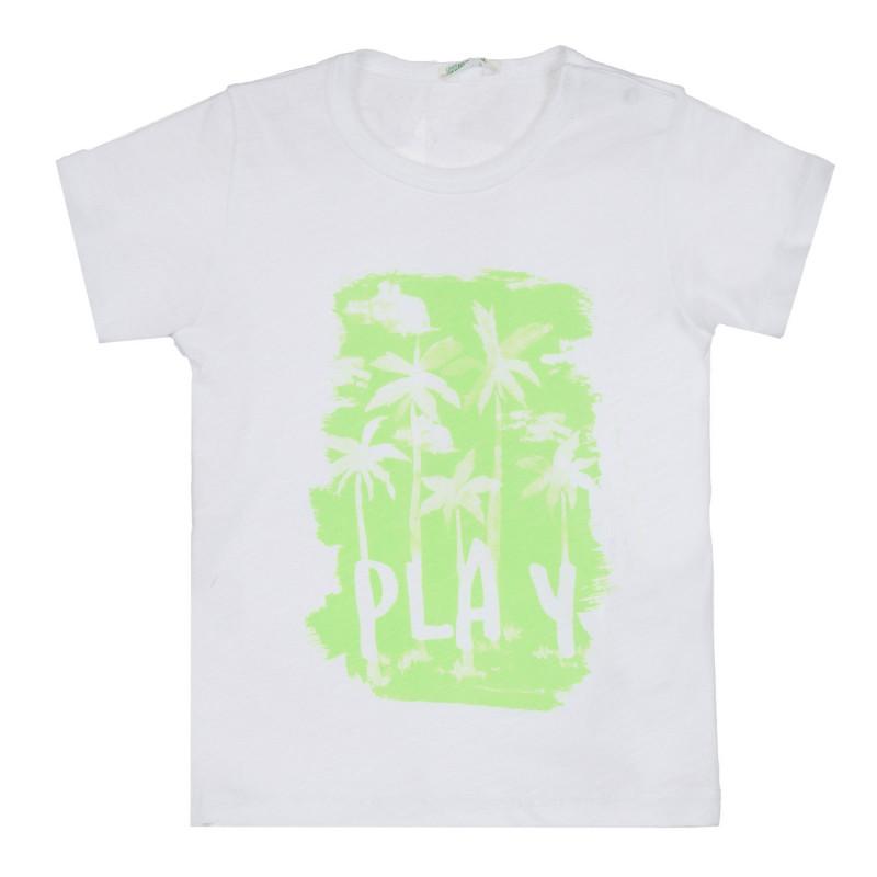 Памучна тениска Play за бебе, бяла  268566