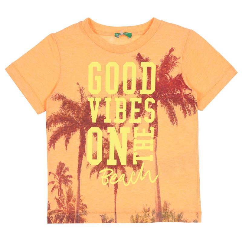 Тениска с принт на палми, оранжева  268582