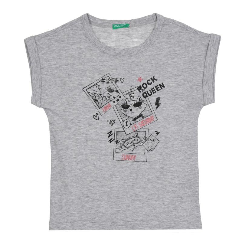Памучна блуза с щампа на коте за бебе, сива  268586