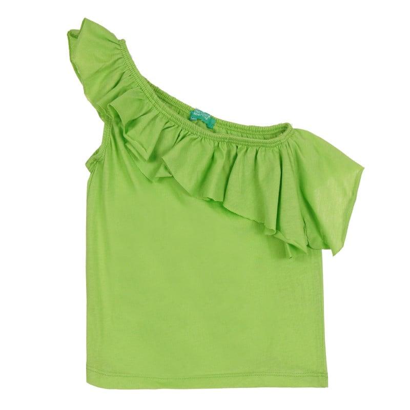Памучен потник с една презрамка и къдрици, зелен  268590