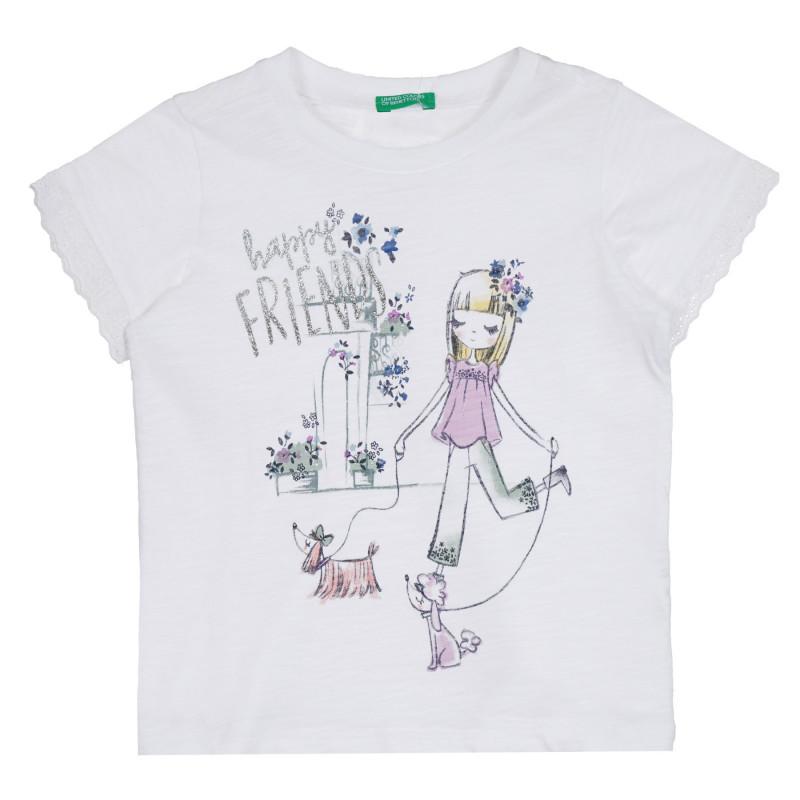 Памучна блуза с щампа Happy Friends, бяла  268593