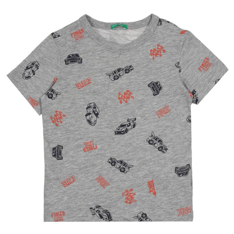 Памучна тениска с графичен принт за бебе, тъмносива  268605