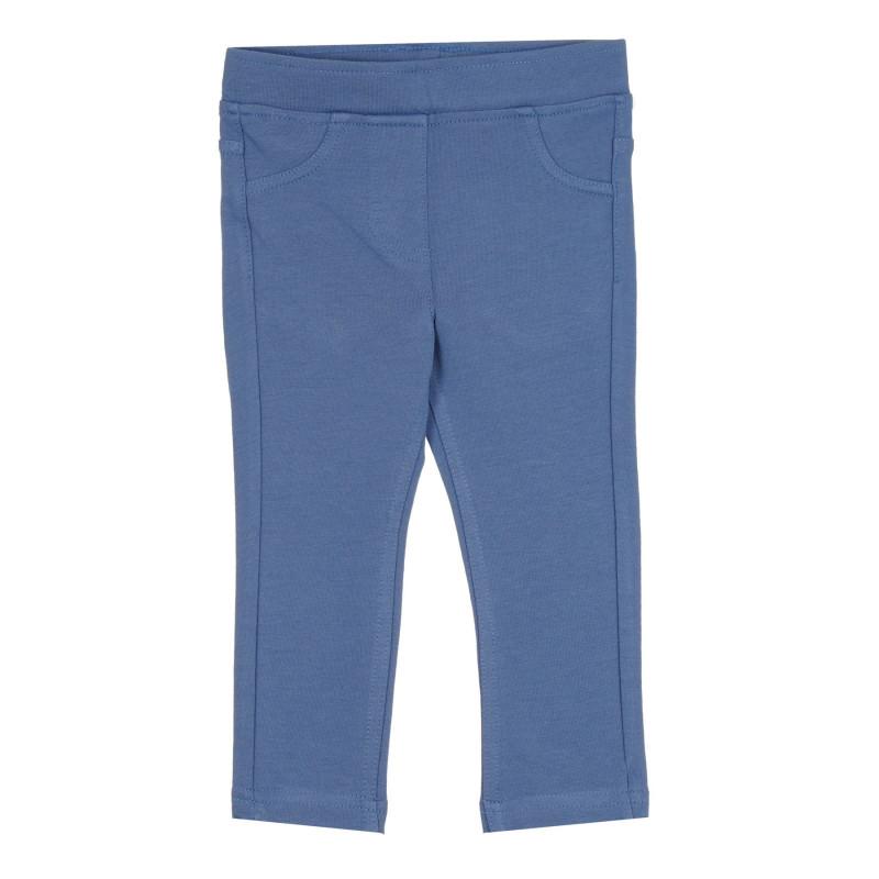 Памучен втален панталон с логото на бранда, син  268609