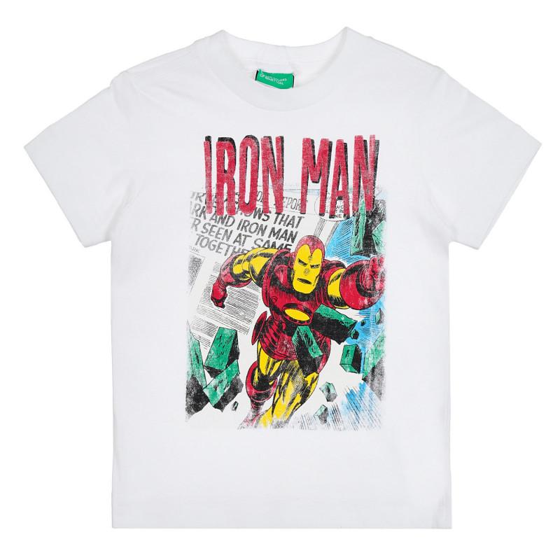 Памучна тениска с щампа на Marvel за бебе, бяла  268617