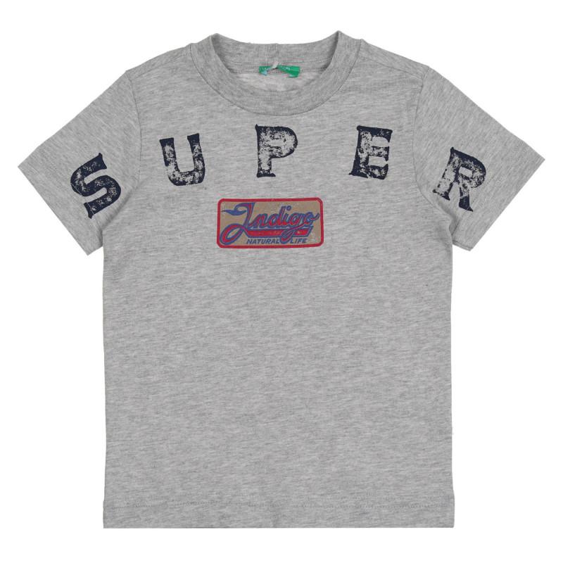 Памучна тениска с графичен принт за бебе, сива  268625