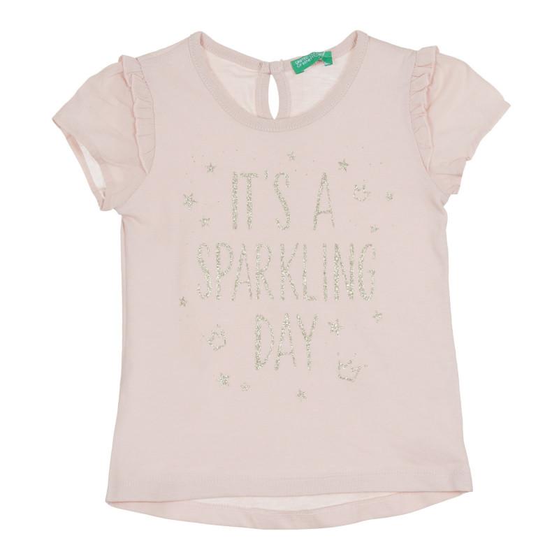 Тениска с брокатен надпис и къдрички, светлорозова  268633