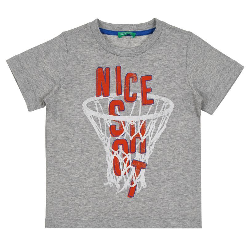 Памучна тениска с щампа на баскетболен кош, сива  268637