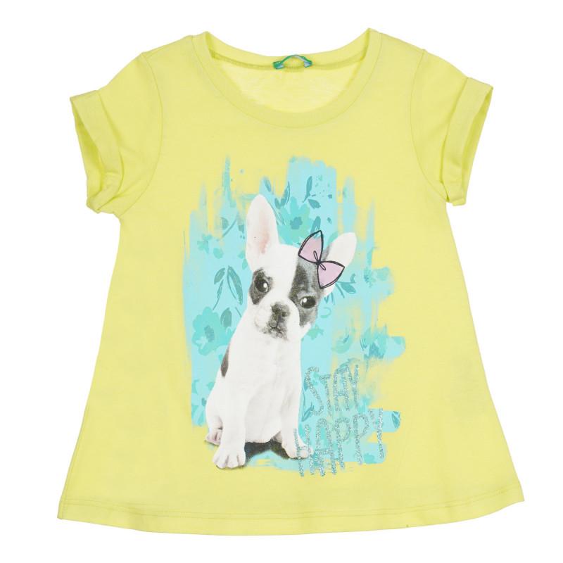 Памучна тениска с щампа на French Bulldog, жълта  268649