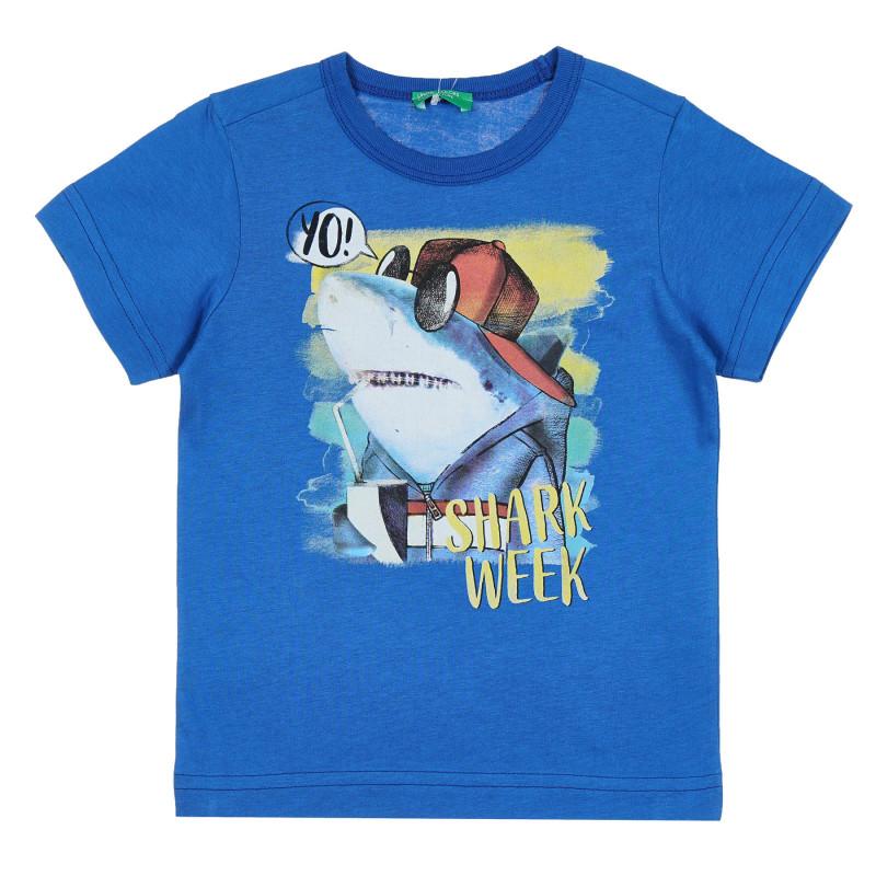 Памучна тениска с графичен принт, синя  268653