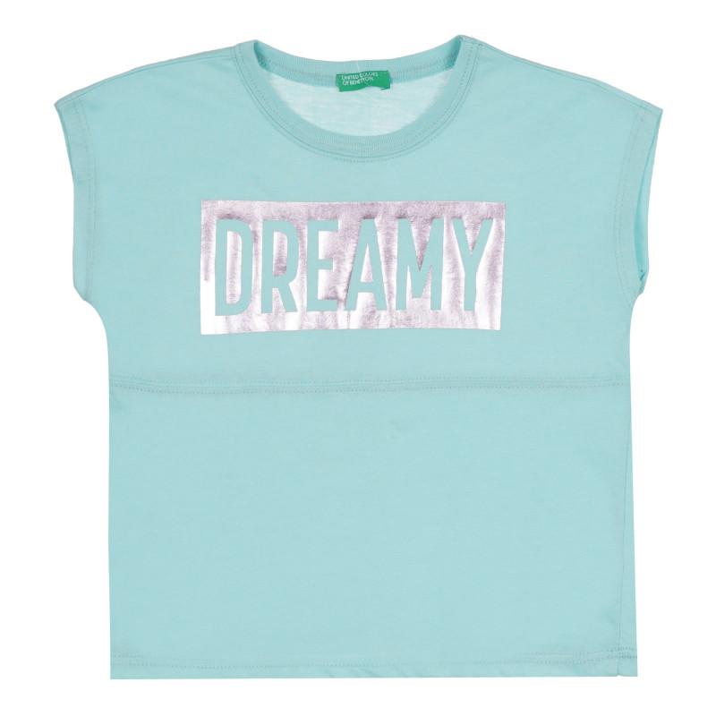 Тениска със сребриста щампа и надпис, светлосиня  268676