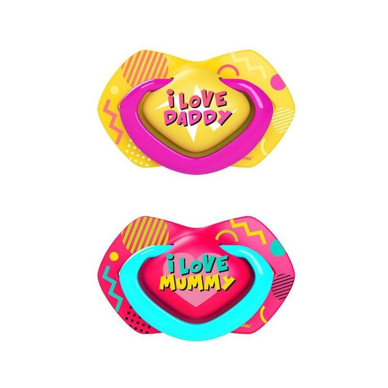 Биберони тип залъгалка Neon Love  0-6 м, 2 бр., розов  268710